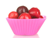 Cherry in the mold of silicone  close-up Stock Images