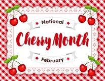Cherry Month, esteira de lugar do Doily do laço do ilhó, guingão vermelho ilustração stock