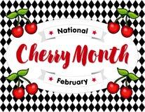 Cherry Month, Februari, Harlekijnachtergrond vector illustratie