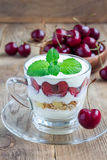 Cherry, muesli and yogurt dessert in glass, verrine, vertical Royalty Free Stock Images