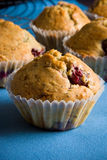 Cherry muffins. The home-made fresh cherry muffins stock images