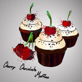 Cherry Muffins Fotos de Stock Royalty Free