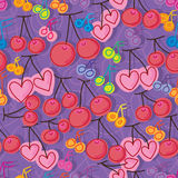 Cherry music note seamless pattern. This illustration is drawing fruit cherry with music note in purple color background seamless pattern Stock Photos