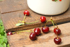 Cherry on the old wooden pallet Royalty Free Stock Image