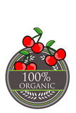 Cherry Organic label Stock Photography