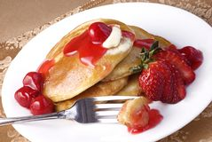 Cherry Pancakes Royalty Free Stock Photography