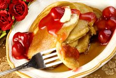 Cherry Pancakes Royalty Free Stock Image