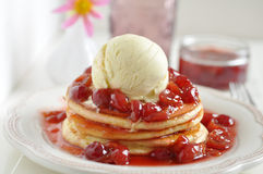 Cherry Pancakes Royalty Free Stock Images