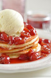 Cherry Pancakes Stock Images
