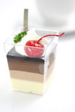 Cherry Panna Cotta pudding with coffee Royalty Free Stock Photo