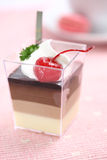 Cherry Panna Cotta pudding with coffee Stock Image