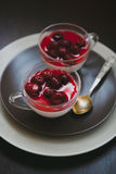 Cherry pannacotta Stock Photography