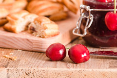 Cherry pastry pies. Royalty Free Stock Photos