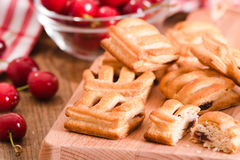 Cherry pastry pies. Royalty Free Stock Images