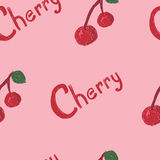 Cherry Pattern. A seamless pattern of cherry berries and the word cherry Vector Illustration