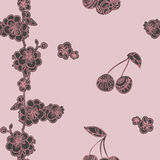 Cherry pattern drawing style Stock Images