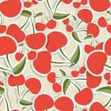 Cherry pattern. Seamless texture with ripe red cherries Stock Photos
