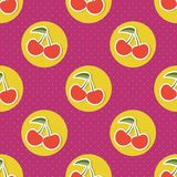 Cherry pattern. Seamless texture with ripe red cherries Royalty Free Stock Photo
