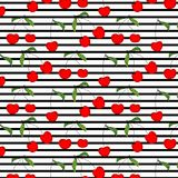 Cherry Pattern Vector Illustration Background tiré par la main Photos libres de droits