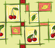 Cherry_pattern. Vector seamless pattern with red ripe cherries and green and yellow leaves on a yellow background Royalty Free Stock Photography