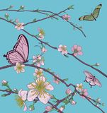 Cherry Peach Blossom Tree Flowers and Butterflies. Cherry or peach blossom tree flowers with butterflies. Abstract background pattern Japanese or Chinese style Royalty Free Stock Image