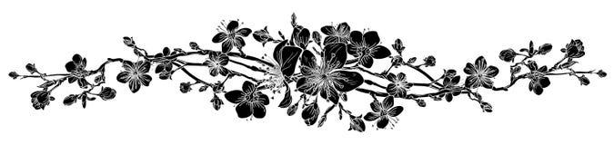 Peach Cherry Blossom Flower Pattern Design Element stock illustration