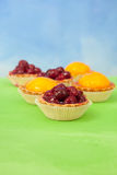 Cherry, peach and jelly tarts Royalty Free Stock Image