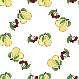 Cherry pear hand drawn pattern Royalty Free Stock Image
