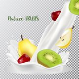 Cherry, pear and kiwi with a splash of milk. 3d realistic vector stock illustration