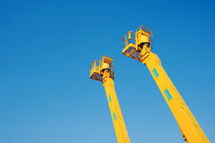 Cherry picker. Platform from below stock photo