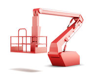 Cherry picker or boom lift on white background. 3d rend royalty free illustration