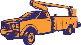 Cherry Picker Mobile Lift Truck-Holzschnitt Lizenzfreie Stockbilder