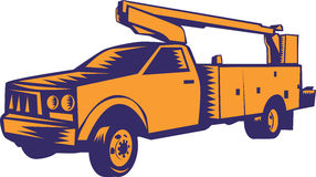 Cherry Picker Mobile Lift Truck Woodcut Royalty Free Stock Images