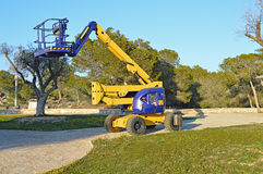 A Cherry Picker. A work platform known as a cherry picker stock images