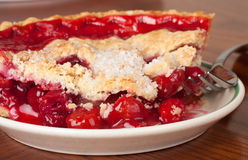 Cherry Pie. Closeup of a slice of cherry pie royalty free stock photo