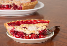 Cherry Pie. Closeup of a slice of cherry pie royalty free stock photography