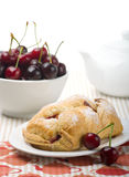 Cherry pie. For tea and cherry in the bowl royalty free stock images