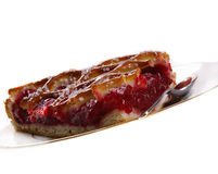 Cherry pie. Piece of cherry pie on plate stock photos