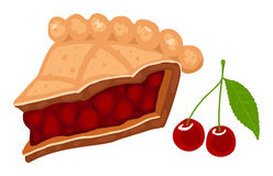 Cherry pie. Slice of cherry pie. Vector illustration Royalty Free Stock Photography