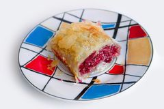 Cherry pie. On a colorful plate Stock Photos