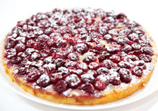 Cherry pie. Tasty cherry pie with powdered sugar on white plate stock photos