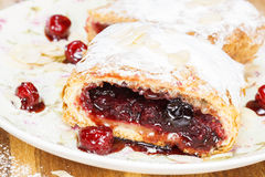 Cherry pie. Tasty homemade cherry pie with powdered sugar royalty free stock photography