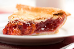 Cherry Pie. Fresh slice of cherry pie on white plate stock photos
