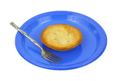 Cherry pie on blue plate with fork Stock Photography