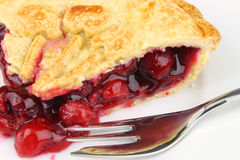 Cherry Pie Close-Up. A slice of Cherry Pie, filled with sweet & juicy Morello cherries and shortcrust pastry Stock Photo