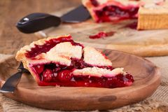 Cherry Pie Closeup Royalty-vrije Stock Foto's