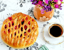 Cherry pie and coffee on the table Stock Photo