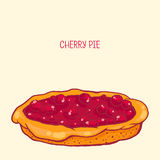 Cherry pie. Colorful  illustration of tasty cherry pie Royalty Free Stock Photos