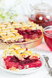 Cherry pie with cup of tea karkade Stock Image