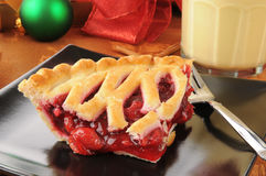 Cherry pie with egg nog Stock Photography